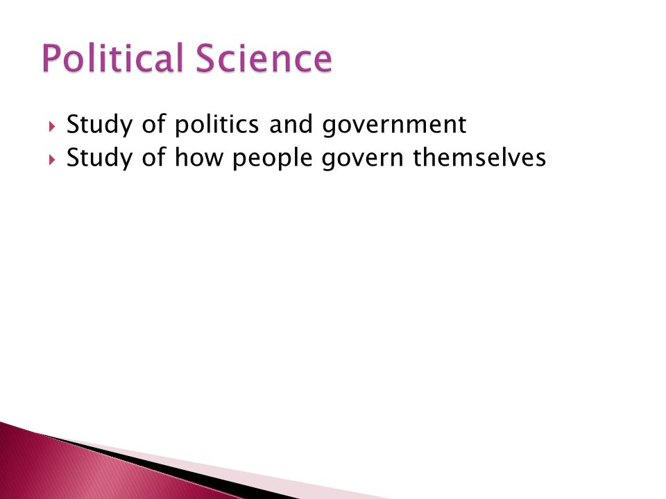 Political Science Study of politics and government