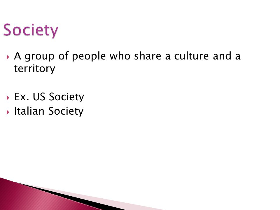 Society A group of people who share a culture and a territory