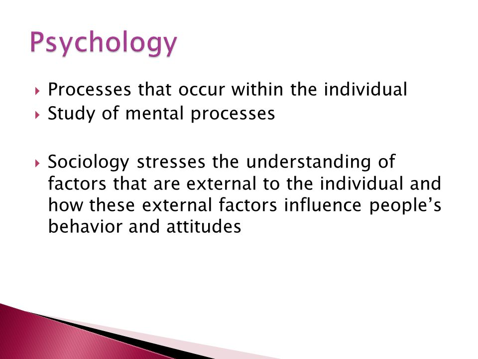 Psychology Processes that occur within the individual