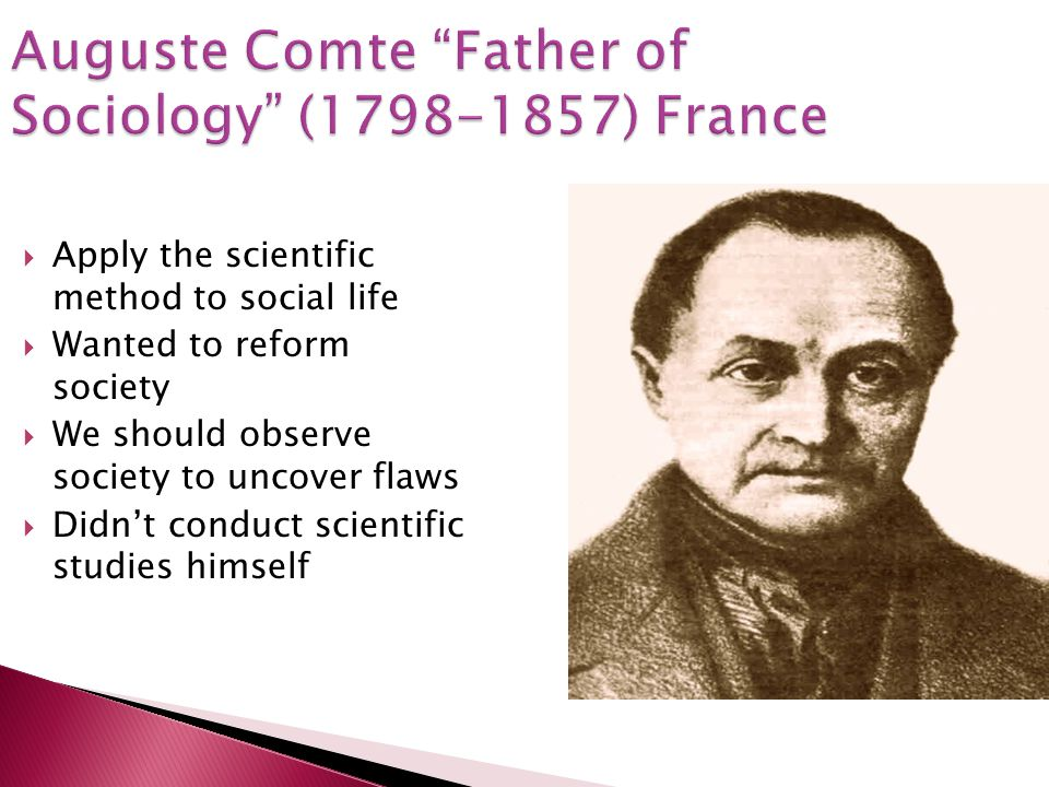 Auguste Comte Father of Sociology (1798-1857) France
