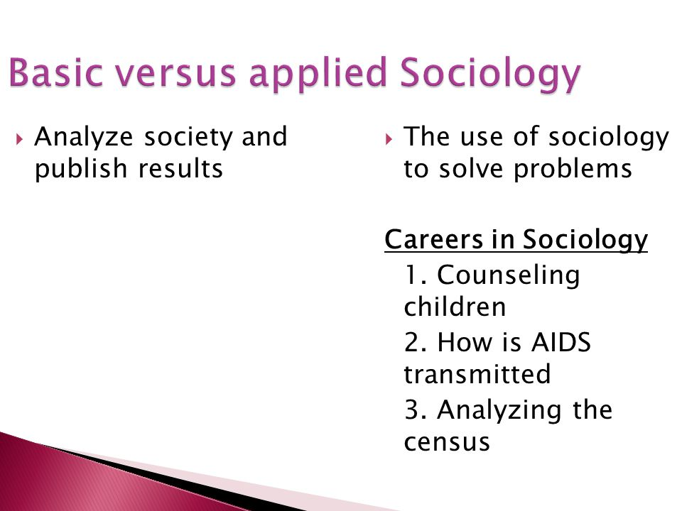 Basic versus applied Sociology