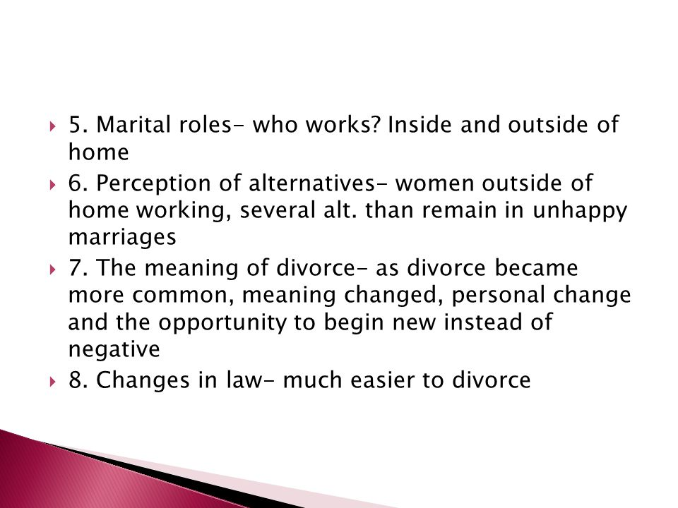 5. Marital roles- who works Inside and outside of home