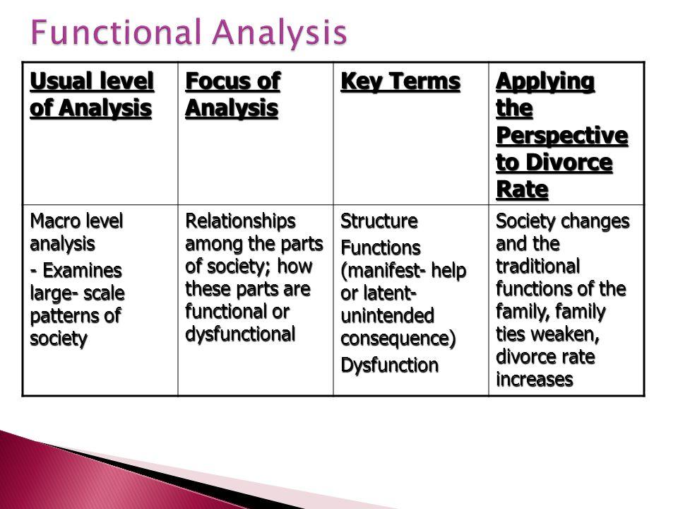 Functional Analysis Usual level of Analysis Focus of Analysis