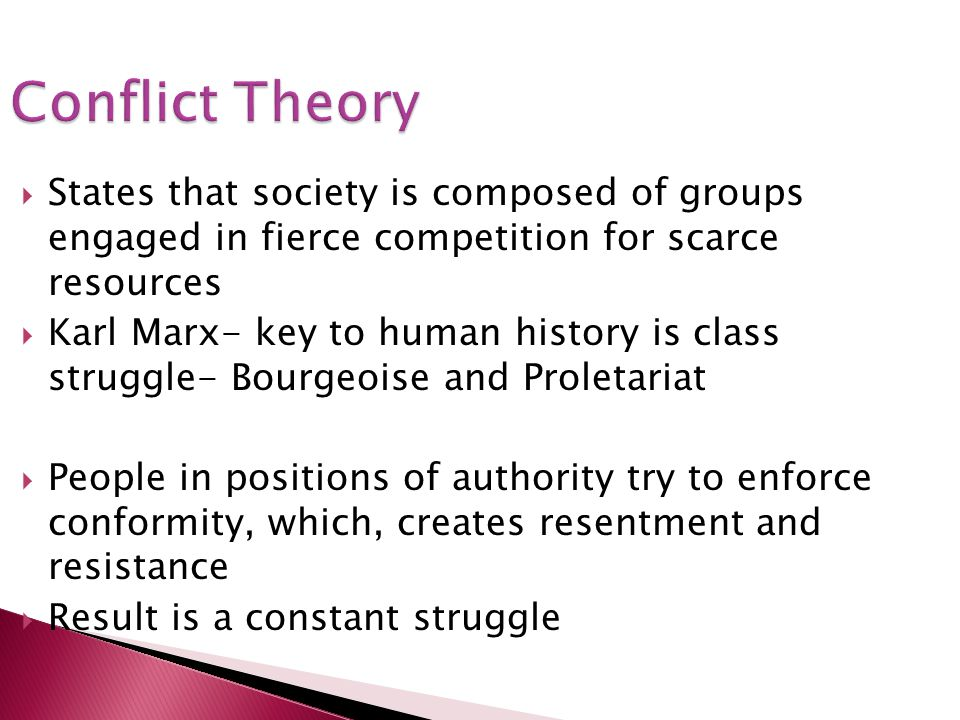 Conflict Theory States that society is composed of groups engaged in fierce competition for scarce resources.