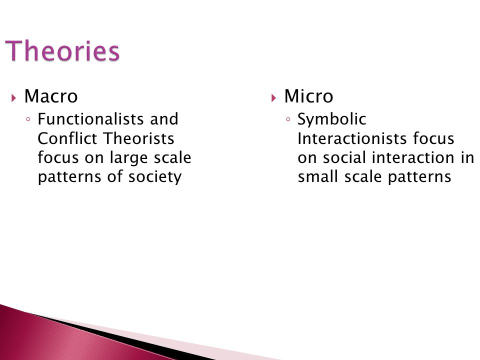 Theories Macro. Functionalists and Conflict Theorists focus on large scale patterns of society.