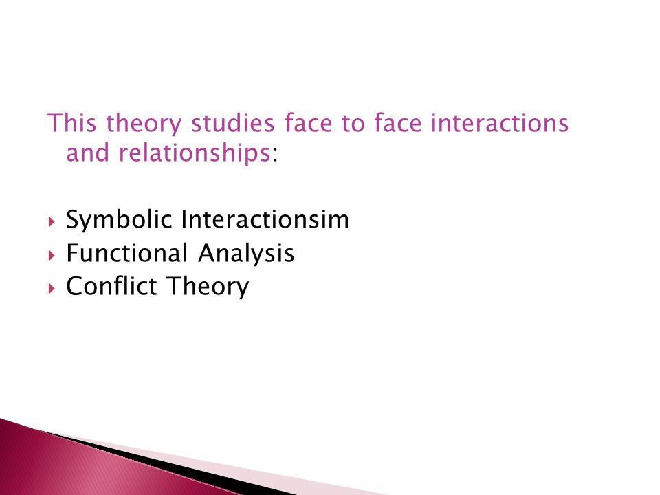 This theory studies face to face interactions and relationships: