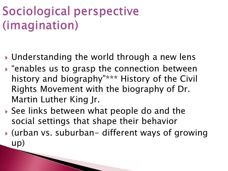 Sociological perspective (imagination)