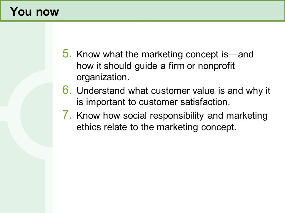 You now This slide refers to material on page 4. Know what the marketing concept is—and how it should guide a firm or nonprofit organization.