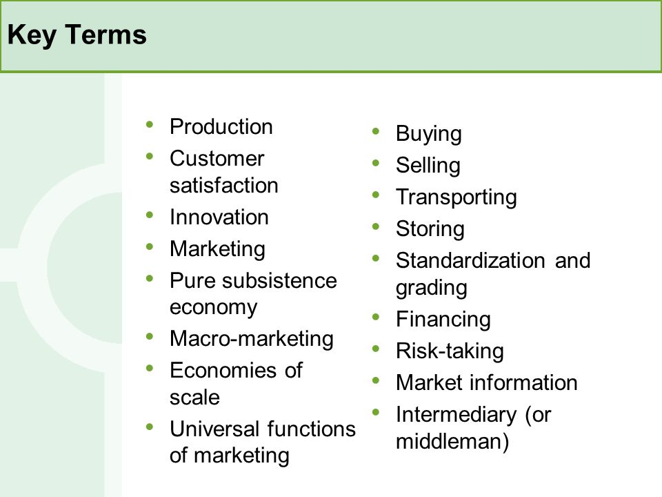 Key Terms Production Buying Customer satisfaction Selling Transporting