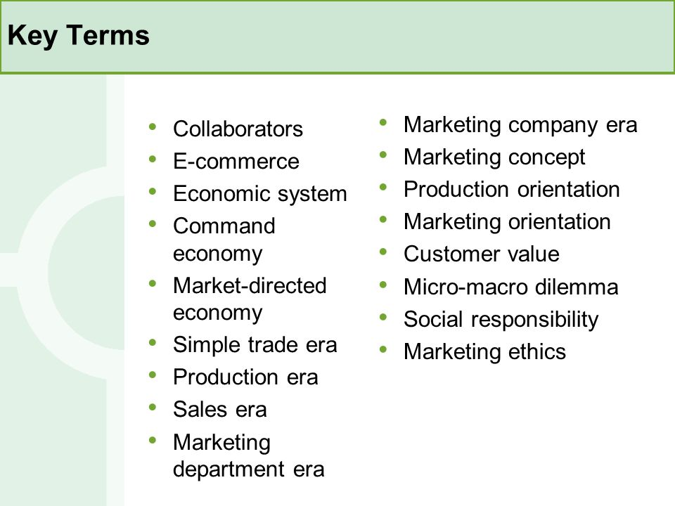 Key Terms Marketing company era Collaborators Marketing concept