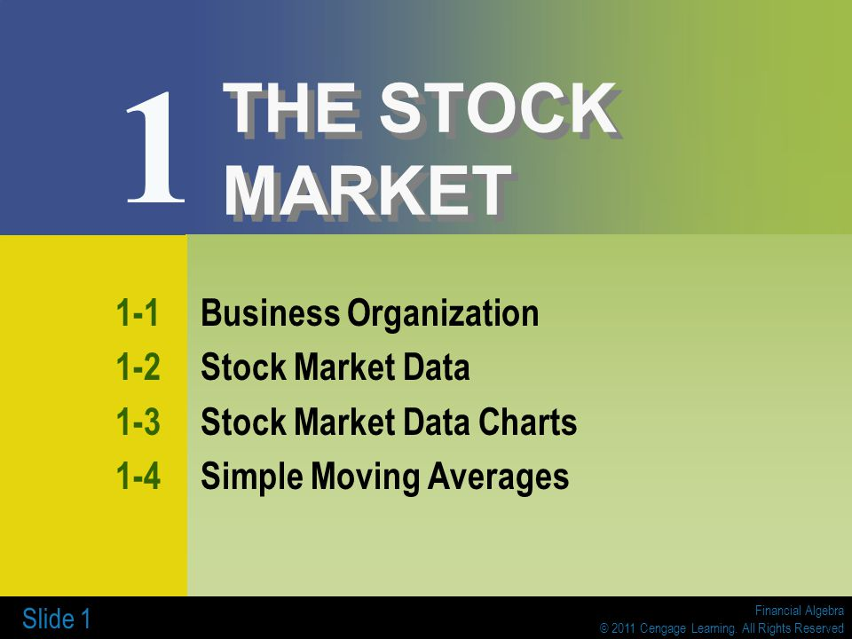 1 THE STOCK MARKET 1-1 Business Organization 1-2 Stock Market Data