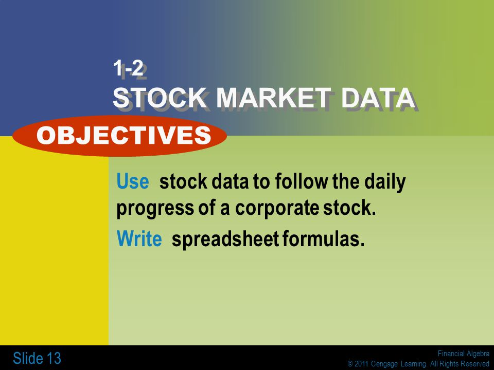 OBJECTIVES 1-2 STOCK MARKET DATA