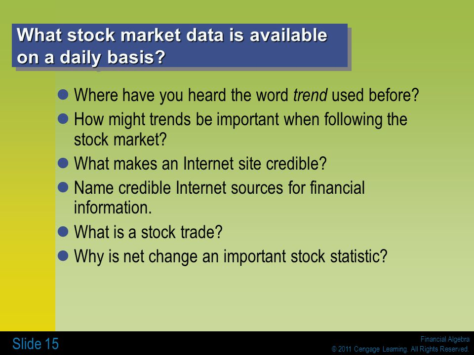 What stock market data is available on a daily basis