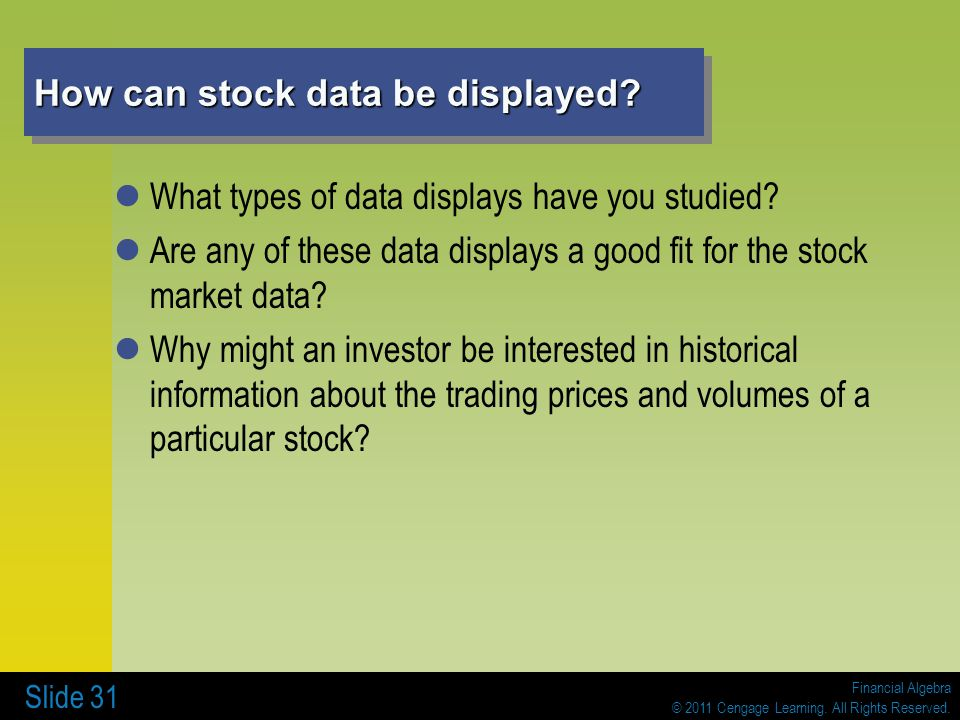 How can stock data be displayed