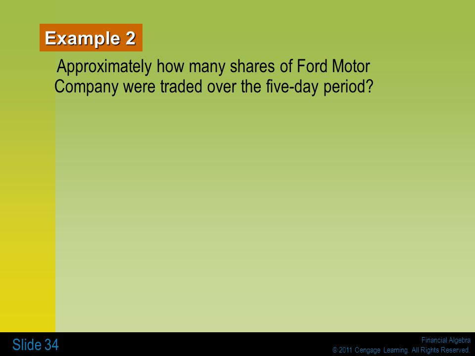 Example 2 Approximately how many shares of Ford Motor Company were traded over the five-day period