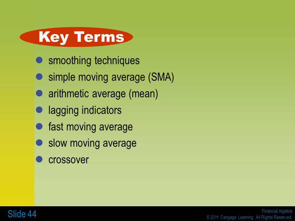 Key Terms smoothing techniques simple moving average (SMA)
