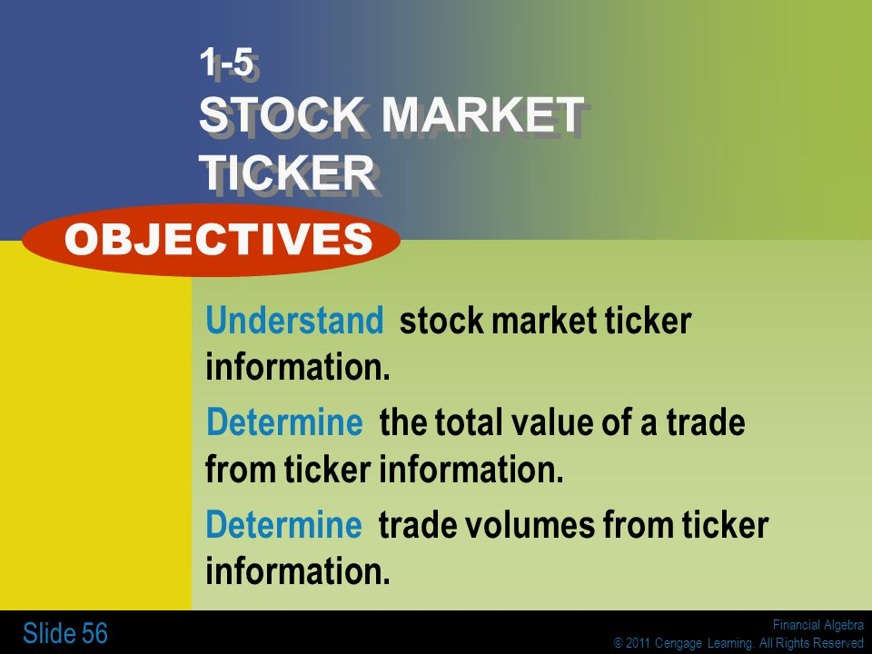 OBJECTIVES 1-5 STOCK MARKET TICKER