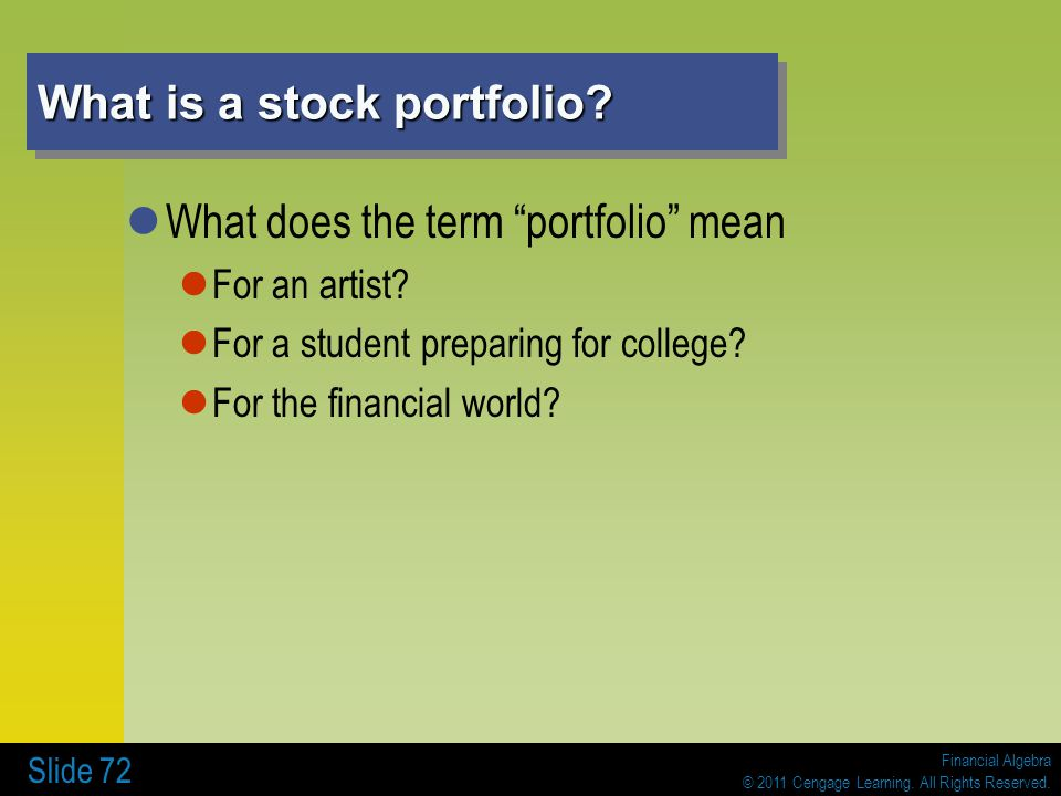 What is a stock portfolio