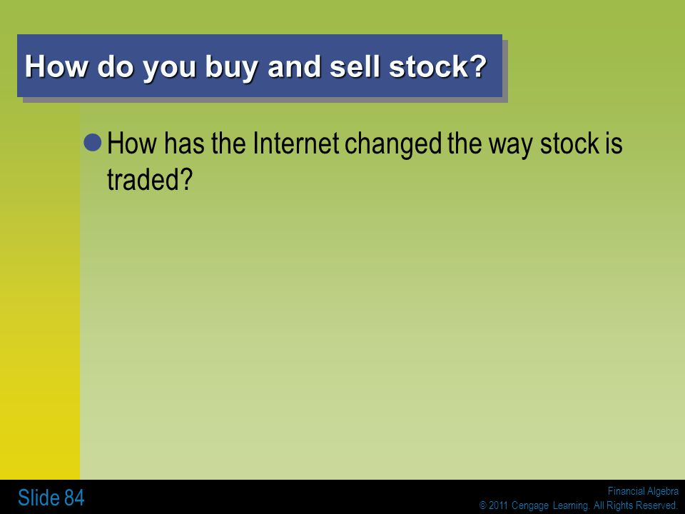 How do you buy and sell stock