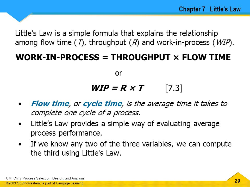 WORK-IN-PROCESS = THROUGHPUT × FLOW TIME