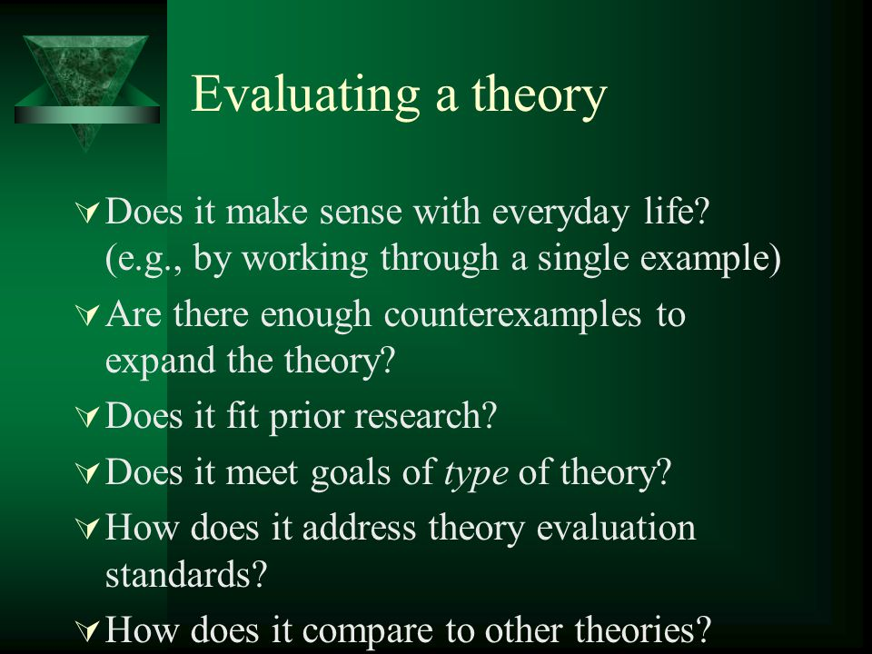 Evaluating a theory Does it make sense with everyday life (e.g., by working through a single example)