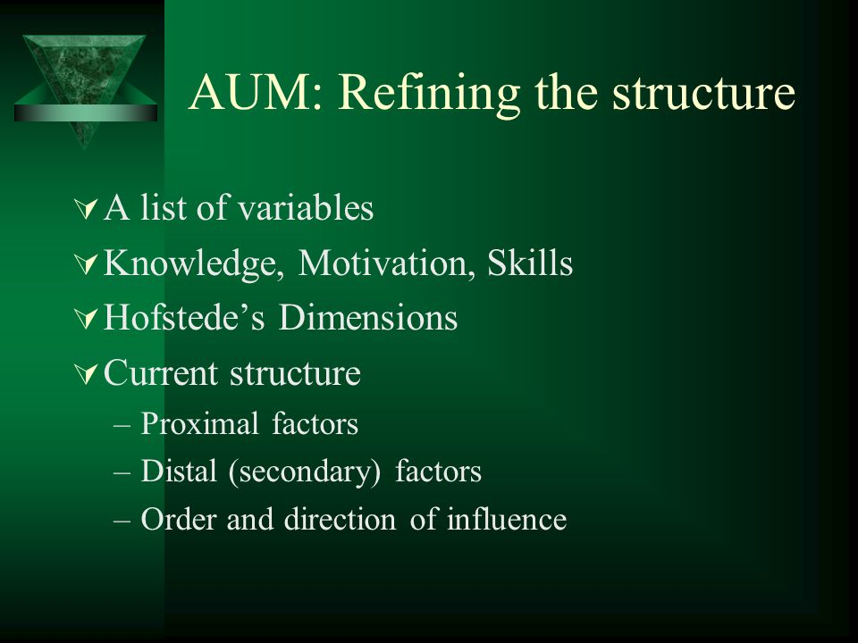 AUM: Refining the structure
