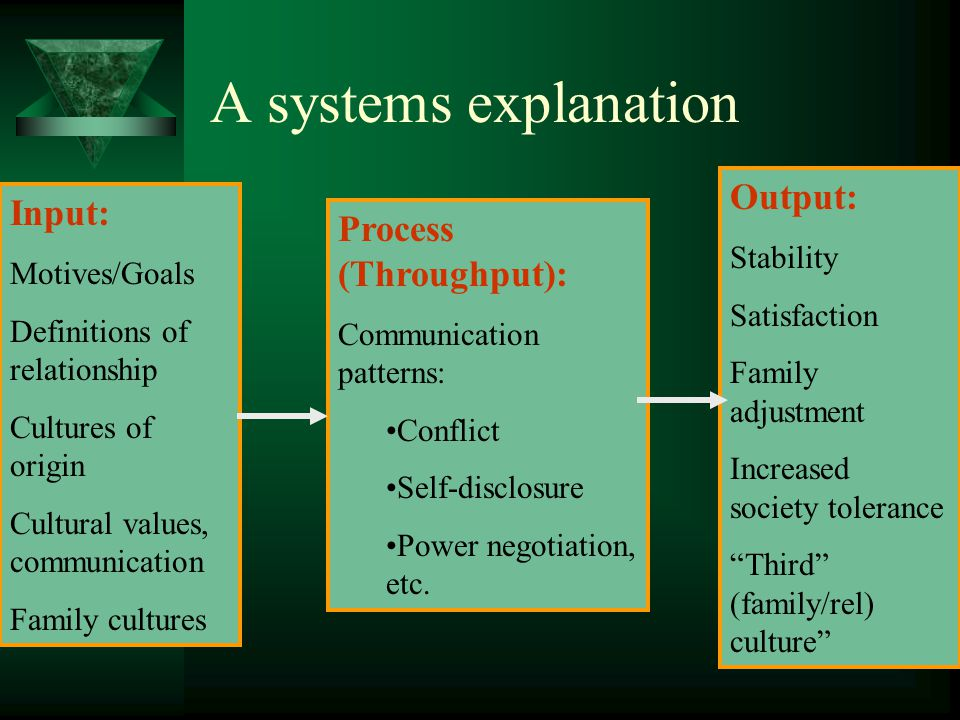 A systems explanation Output: Input: Process (Throughput): Stability