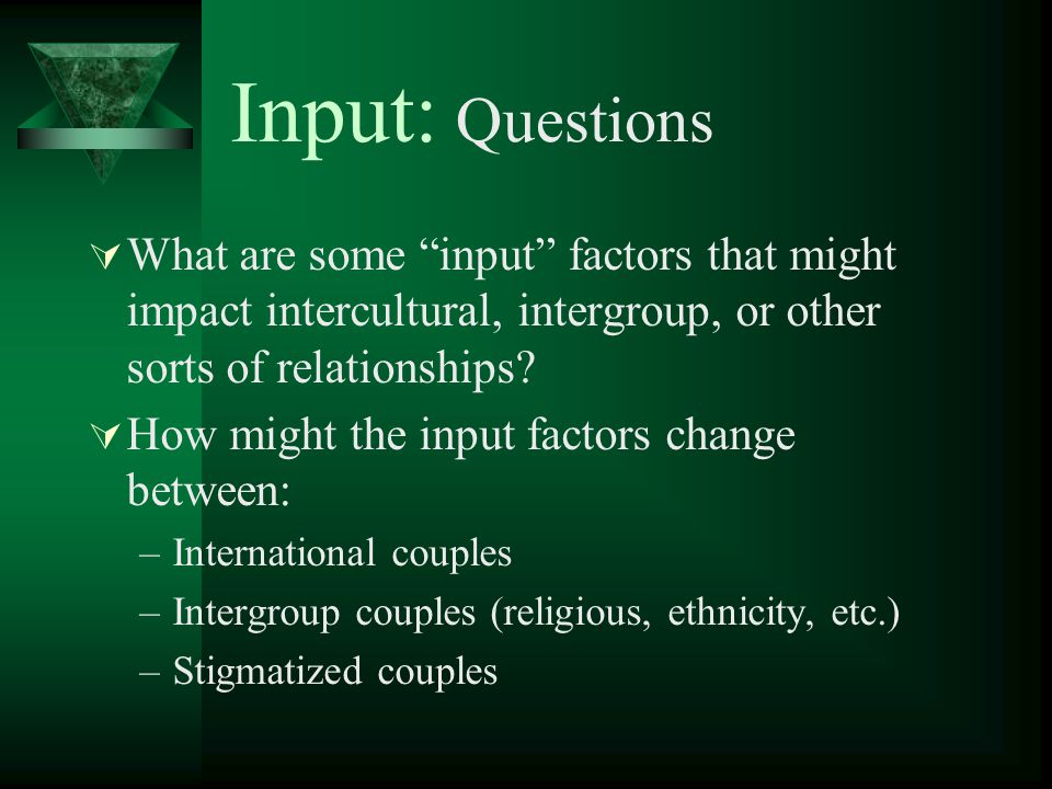 Input: Questions What are some input factors that might impact intercultural, intergroup, or other sorts of relationships