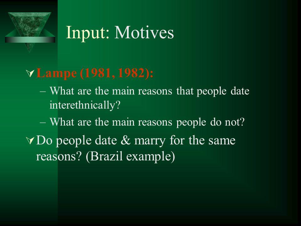 Input: Motives Lampe (1981, 1982):