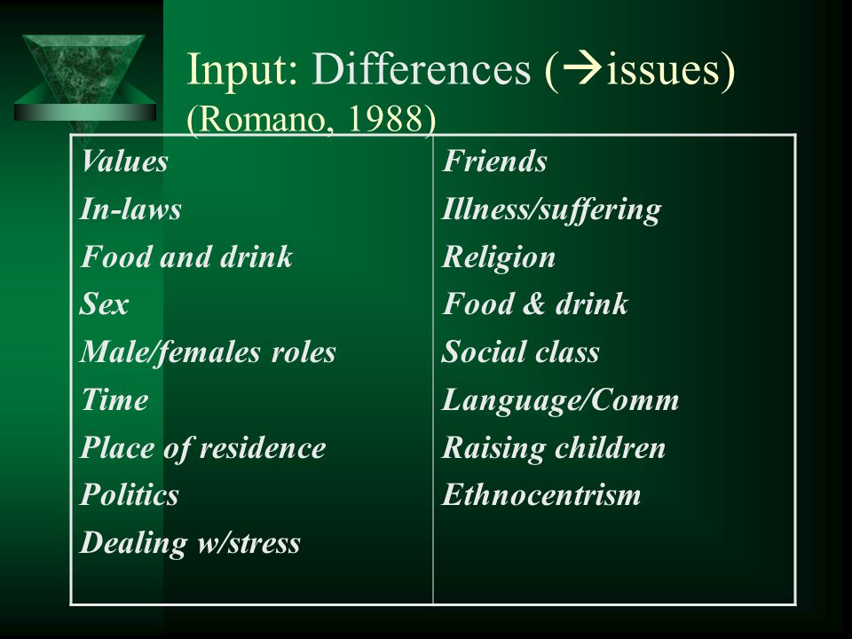 Input: Differences (issues) (Romano, 1988)