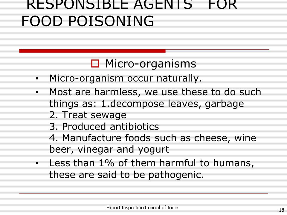 RESPONSIBLE AGENTS FOR FOOD POISONING