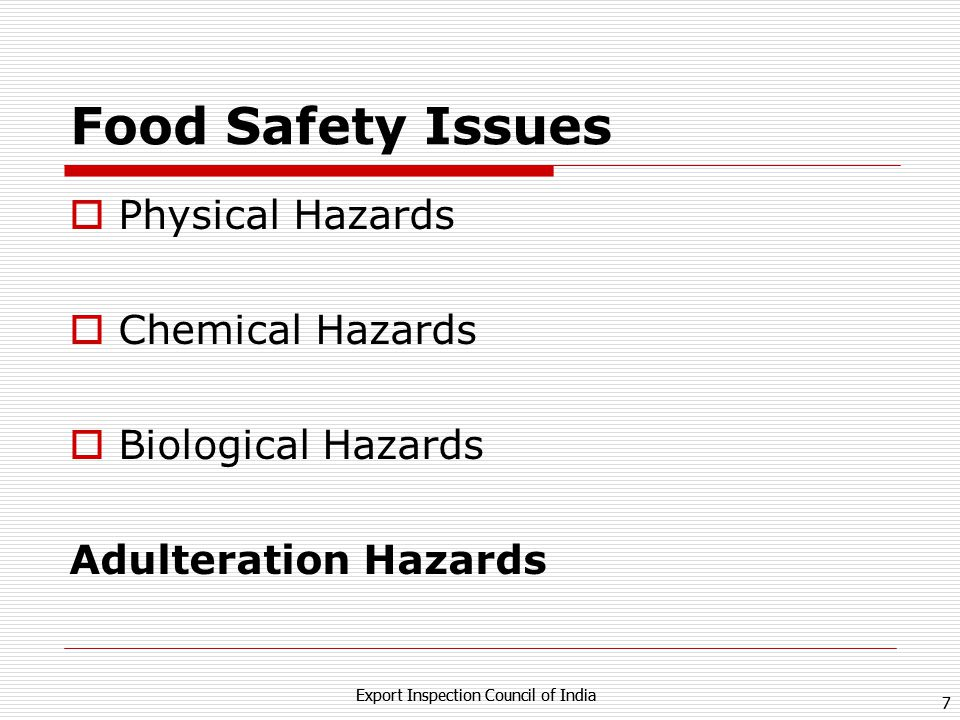 Food Safety Issues Physical Hazards Chemical Hazards