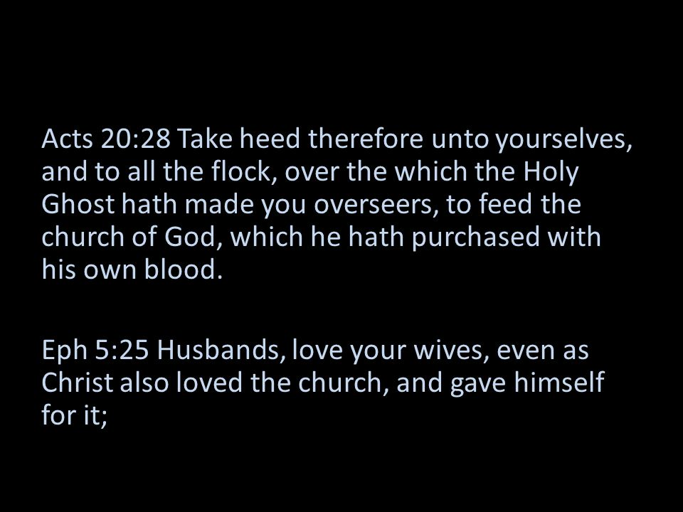 Acts 20:28 Take heed therefore unto yourselves, and to all the flock, over the which the Holy Ghost hath made you overseers, to feed the church of God, which he hath purchased with his own blood.