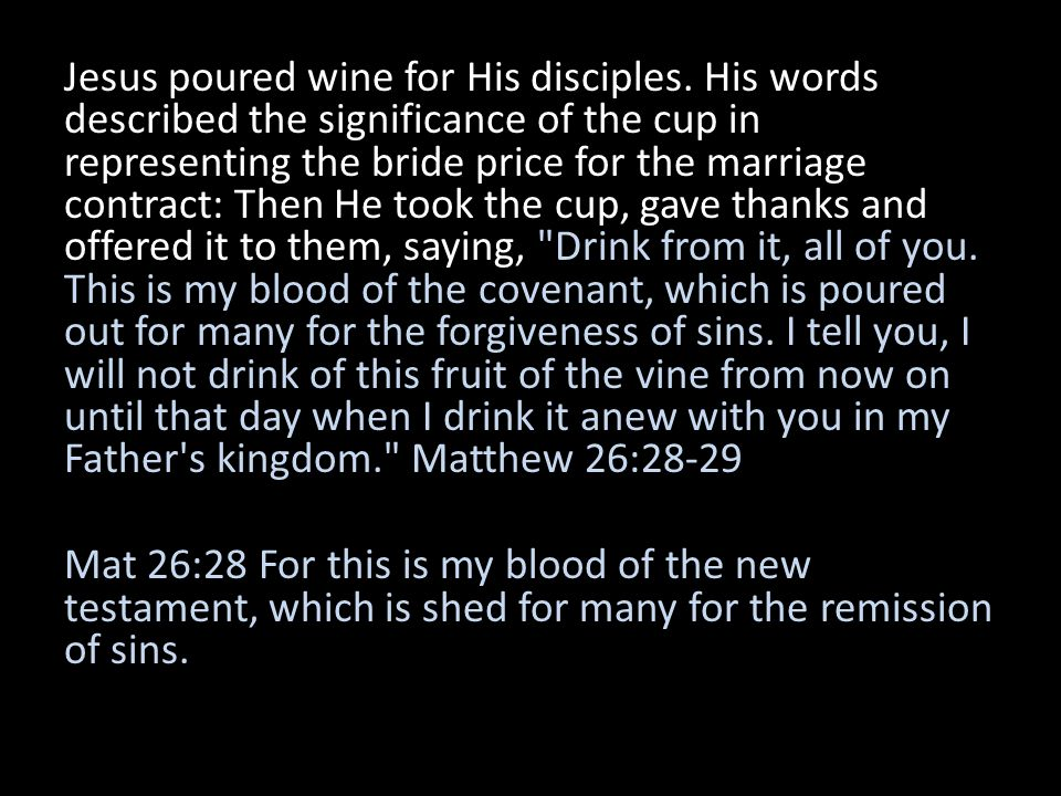 Jesus poured wine for His disciples