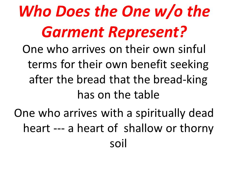 Who Does the One w/o the Garment Represent