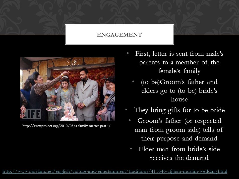 (to be)Groom's father and elders go to (to be) bride's house