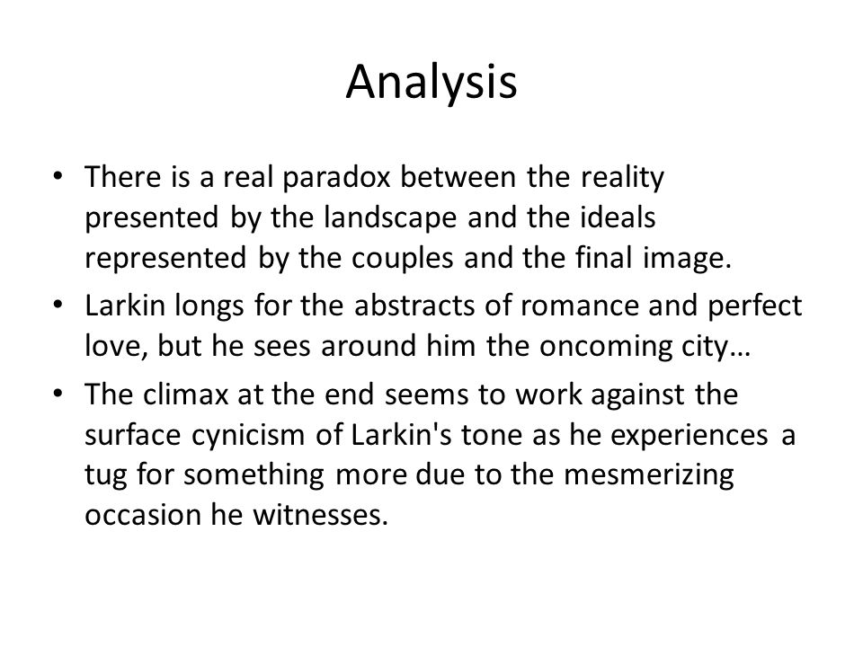 Analysis There is a real paradox between the reality presented by the landscape and the ideals represented by the couples and the final image.