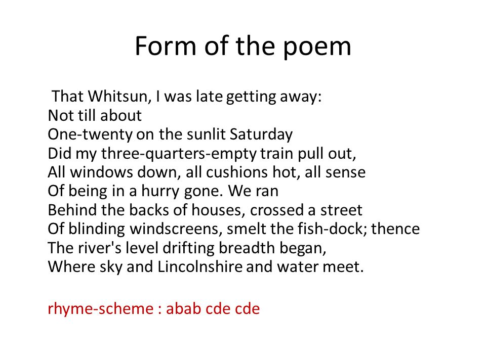 Form of the poem