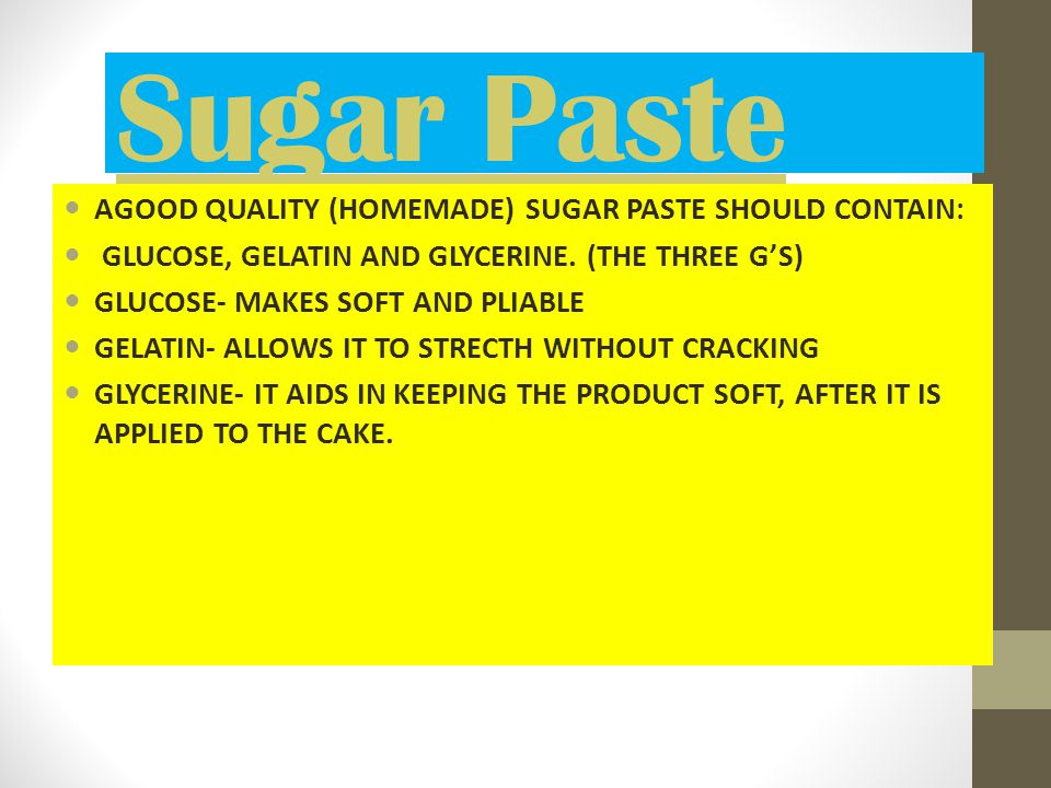 Sugar Paste AGOOD QUALITY (HOMEMADE) SUGAR PASTE SHOULD CONTAIN: