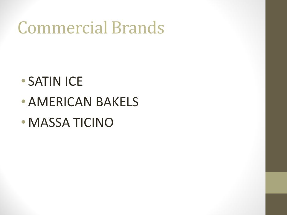 Commercial Brands SATIN ICE AMERICAN BAKELS MASSA TICINO