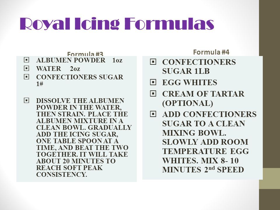Royal Icing Formulas CONFECTIONERS SUGAR 1LB EGG WHITES