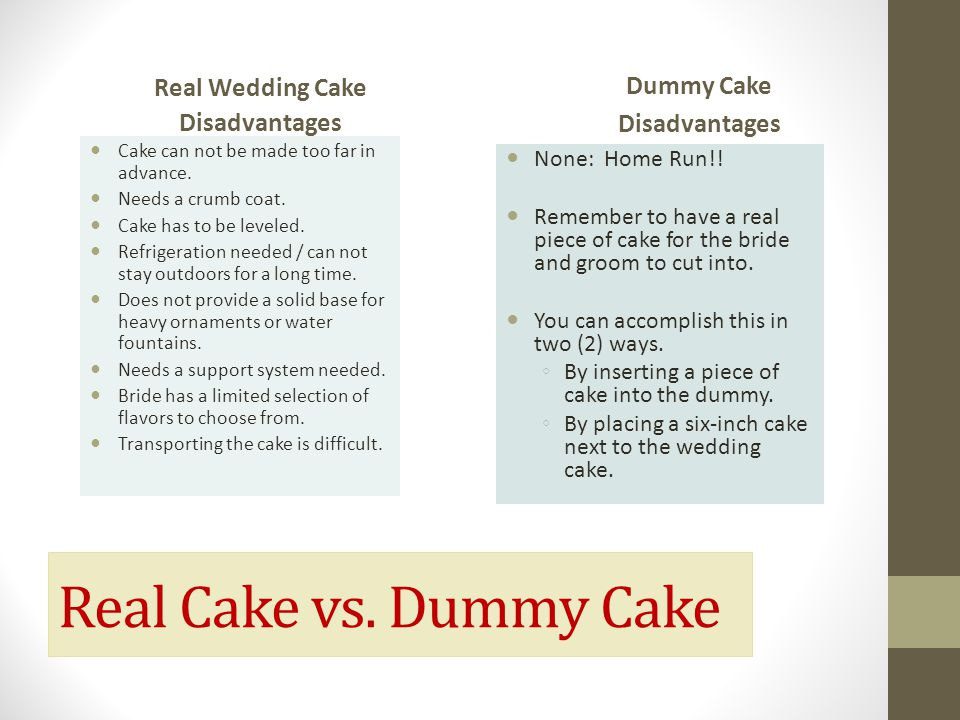 Real Cake vs. Dummy Cake Dummy Cake Real Wedding Cake Disadvantages