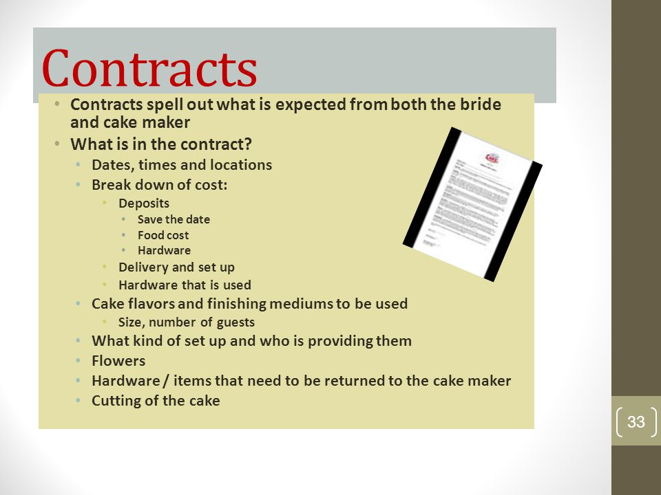Contracts Contracts spell out what is expected from both the bride and cake maker. What is in the contract