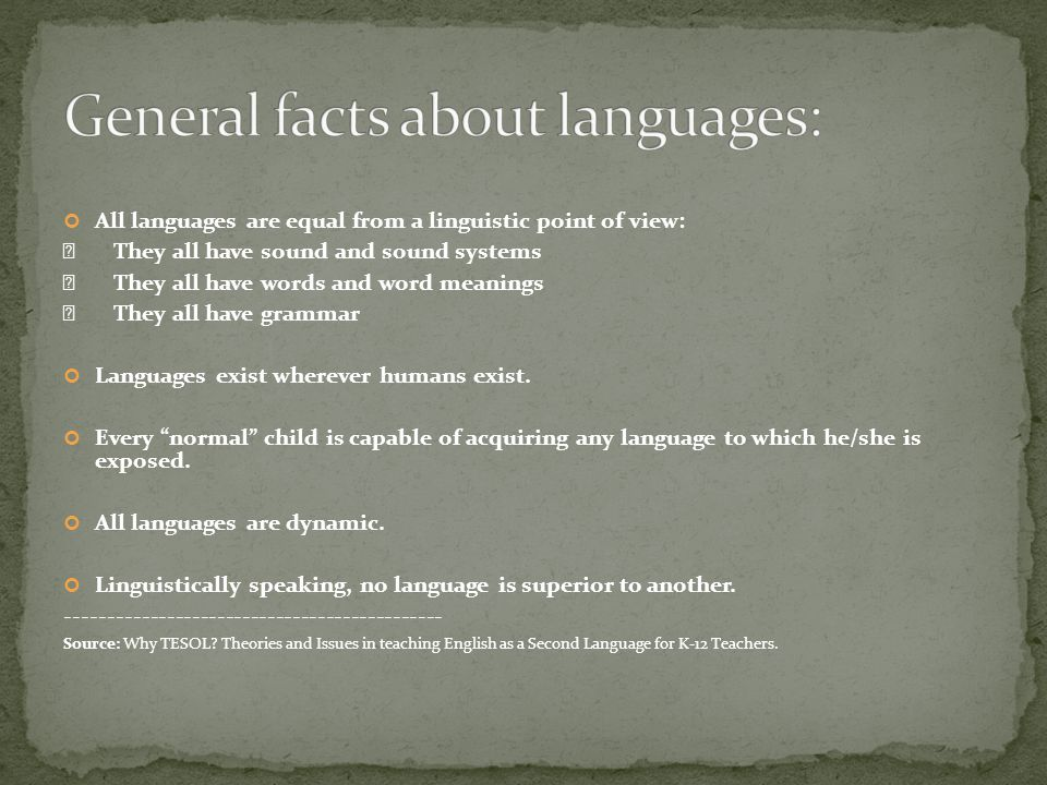 General facts about languages: