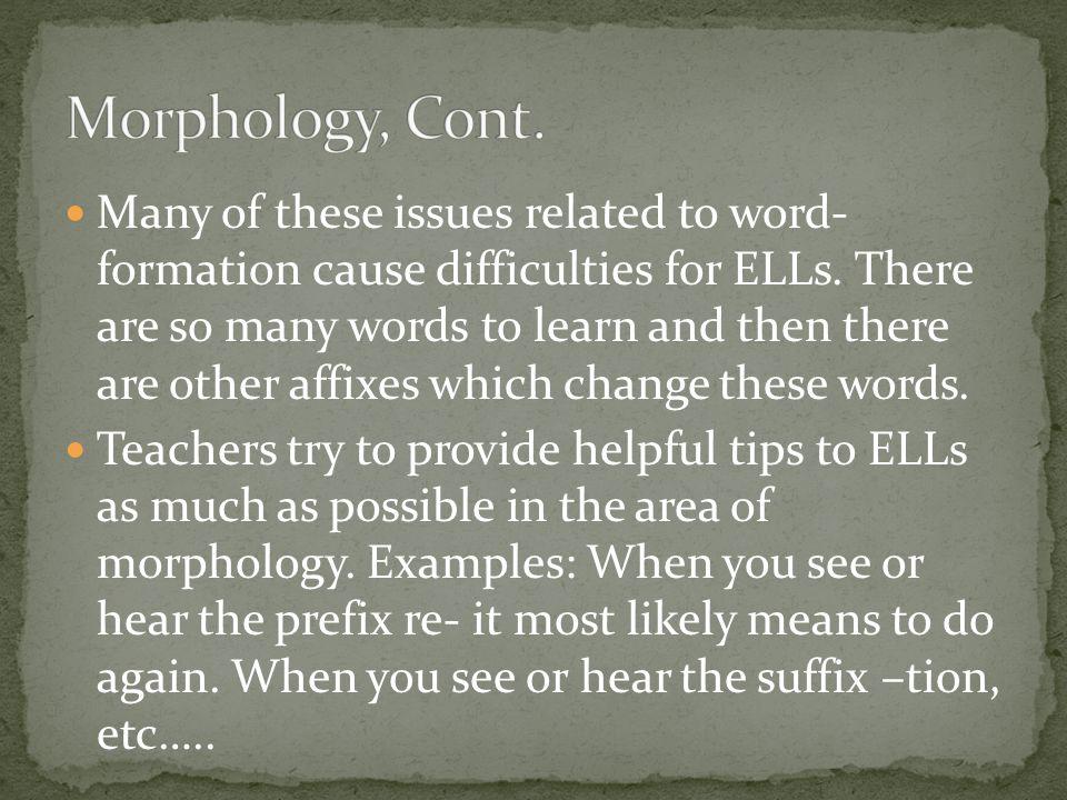 Morphology, Cont.