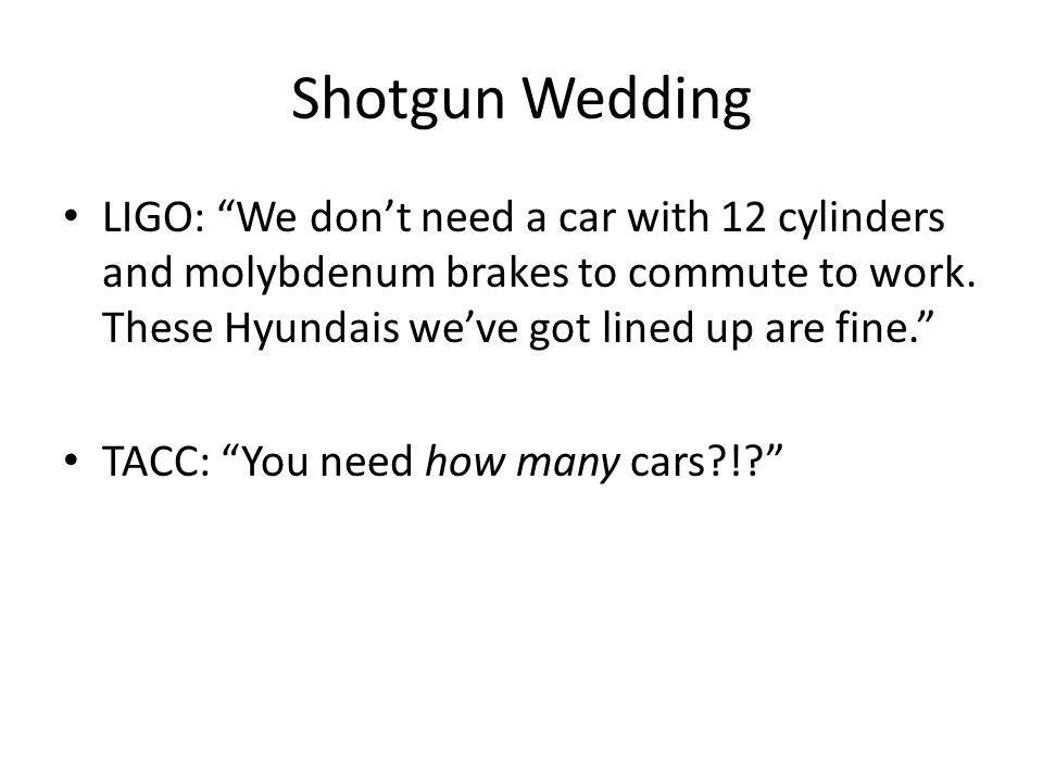 Shotgun Wedding LIGO: We don't need a car with 12 cylinders and molybdenum brakes to commute to work. These Hyundais we've got lined up are fine.