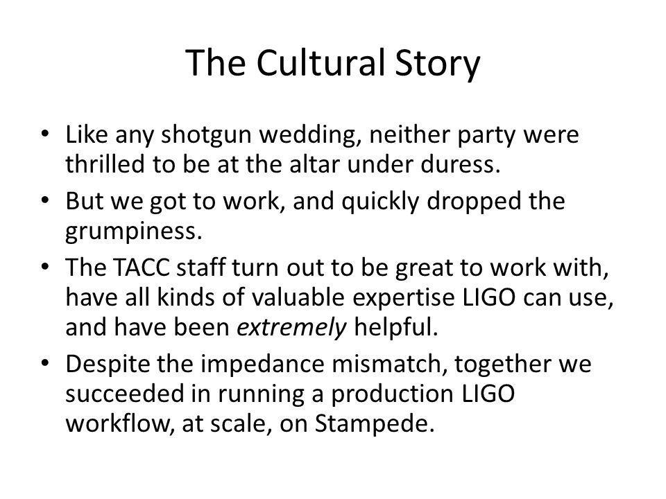 The Cultural Story Like any shotgun wedding, neither party were thrilled to be at the altar under duress.