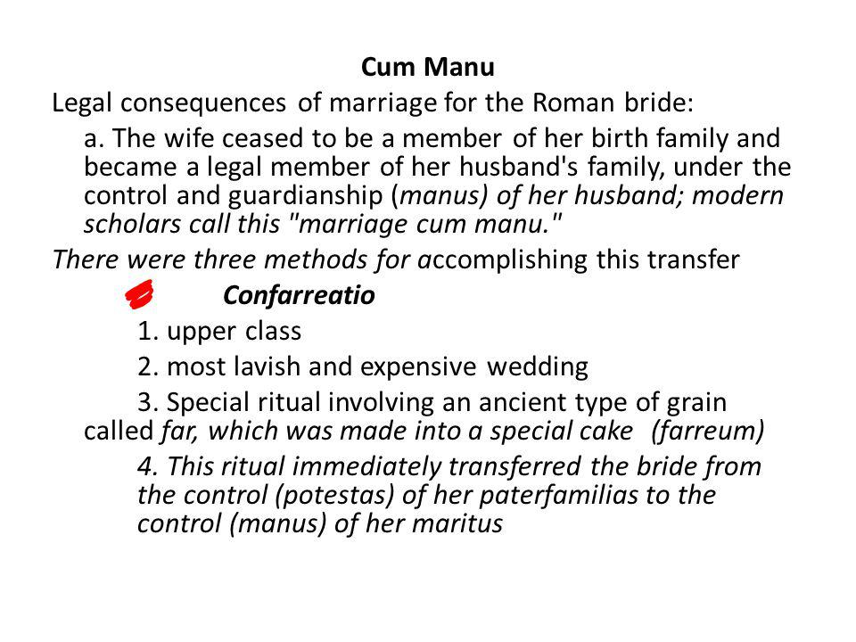 Cum Manu Legal consequences of marriage for the Roman bride: