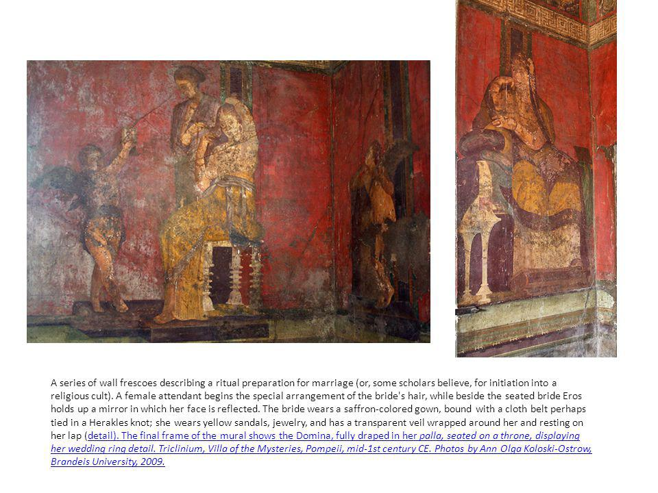 A series of wall frescoes describing a ritual preparation for marriage (or, some scholars believe, for initiation into a religious cult).