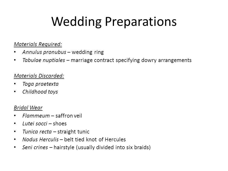 Wedding Preparations Materials Required: